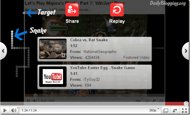 Snake Game in YouTube
