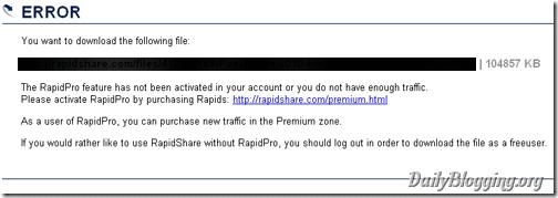 RapidShare-rapidpro-credits