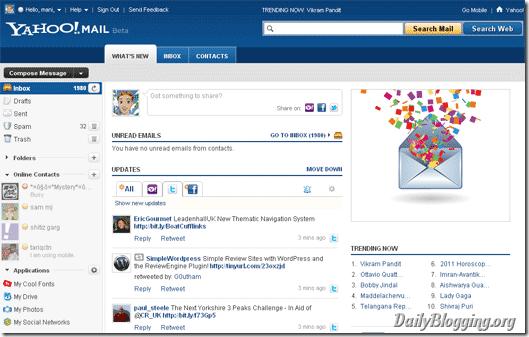 yahoo mail beta interface