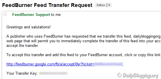 FeedBurner Feed Transfer Request