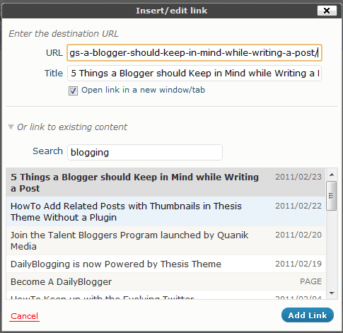 Interlinking using the URL Button in WordPress 3.1