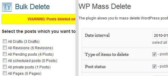 Delete Pending posts plugin
