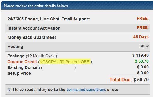HostGator NOSOPA Discount