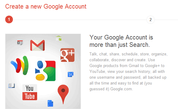 Google Accounts form