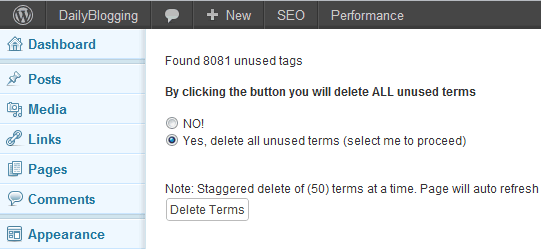 Delete Unused WordPress Tags