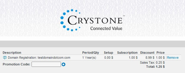 Crystone 1.25$ Domain Discount
