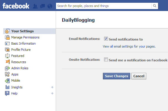 Facebook Onsite Notification for Pages