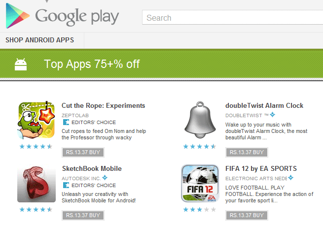 Google Play Apps Discount